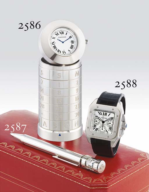 CARTIER. AN OVERSIZED STAINLESS STEEL SQUARE AUTOMATIC CHRONOGRAPH WRISTWATCH WITH DATE