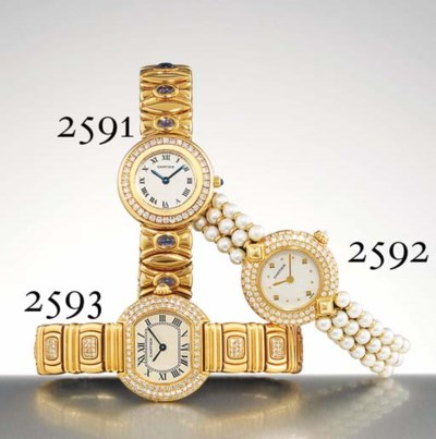 CARTIER. A LADY'S 18K GOLD, DI