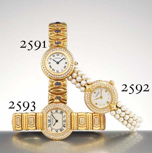 CARTIER. A LADY'S 18K GOLD, DIAMOND AND IOLITE-SET WRISTWATCH WITH BRACELET