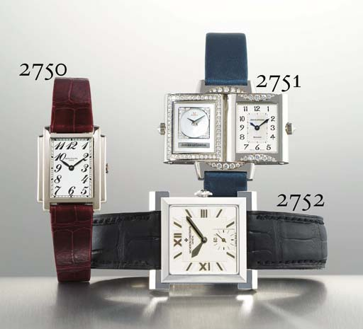 JAEGER-LECOULTRE. A LADY'S 18K WHITE GOLD AND DIAMOND-SET RECTANGULAR REVERSIBLE WRISTWATCH WITH MOTHER-OF-PEARL DIAL