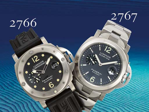 PANERAI. A TITANIUM CUSHION-SHAPED AUTOMATIC WRISTWATCH WITH DATE AND BRACELET