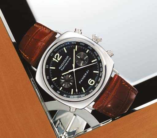 PANERAI. A FINE AND RARE STAINLESS STEEL CUSHION-SHAPED AUTOMATIC SPLIT SECONDS CHRONOGRAPH WRISTWATCH