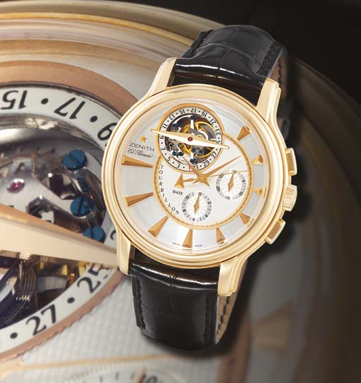 ZENITH. A FINE LIMITED EDITION OVERSIZED 18K PINK GOLD AUTOMATIC TOURBILLON CHRONOGRAPH WRISTWATCH WITH DATE