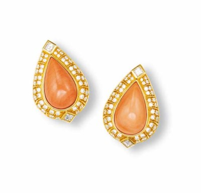 ** A PAIR OF CORAL AND DIAMOND