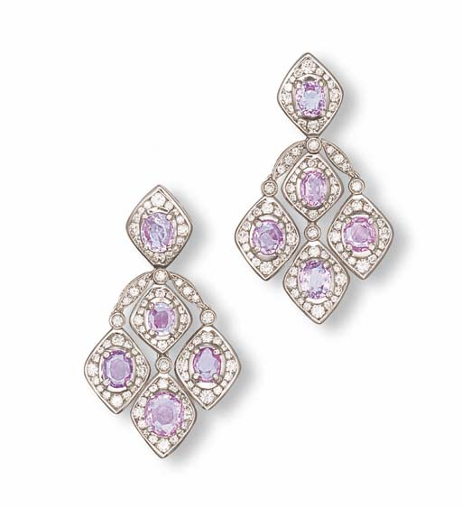 A PAIR OF PINK, PURPLE SAPPHIRE AND DIAMOND EAR PENDANTS, BY REPOSSI