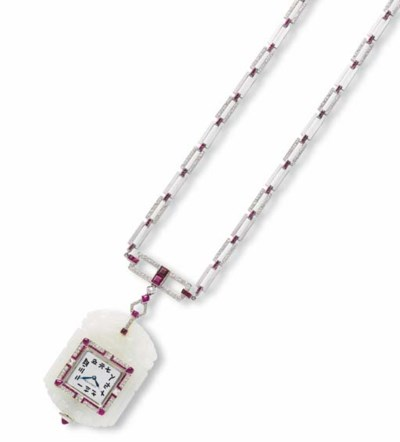 A NEPHRITE, RUBY AND DIAMOND N