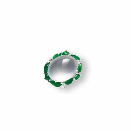 A COLOURLESS JADEITE, JADEITE AND DIAMOND RING