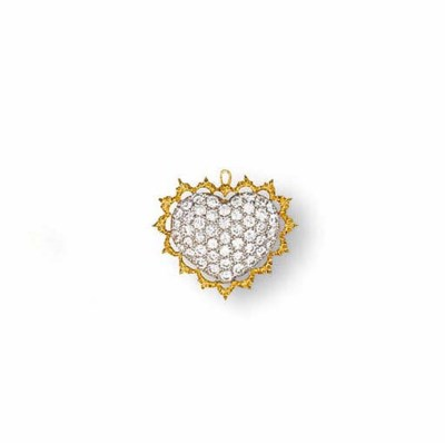 A DIAMOND AND GOLD PENDANT, BY