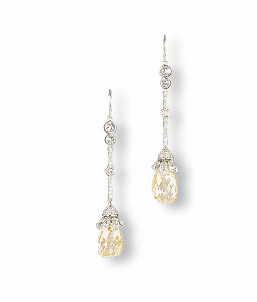 A PAIR OF BRIOLETTE DIAMOND AND DIAMOND EAR PENDANTS