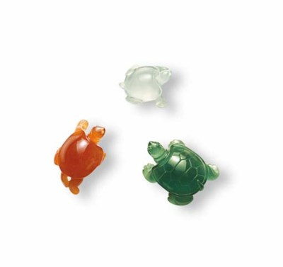 THREE MULTI-COLOURED JADEITE T