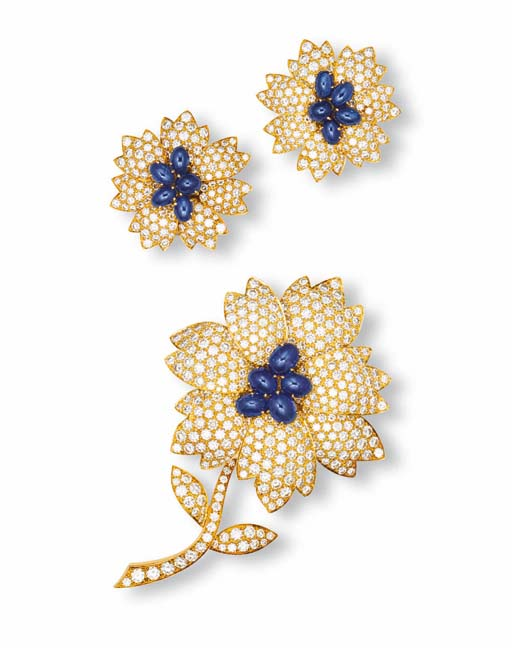 A SET OF DIAMOND AND SAPPHIRE JEWELLERY, BY VAN CLEEF & ARPELS