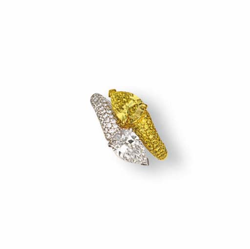 A COLOURED DIAMOND AND DIAMOND RING, BY VAN CLEEF & ARPELS