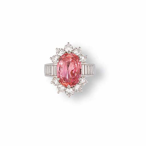 A PADPARADSCHA AND DIAMOND RING
