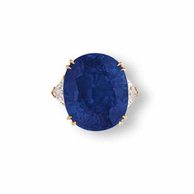 A SAPPHIRE & DIAMOND RING, BY