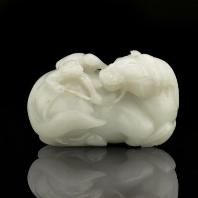 A WHITE JADE 'HORSE AND MONEY'