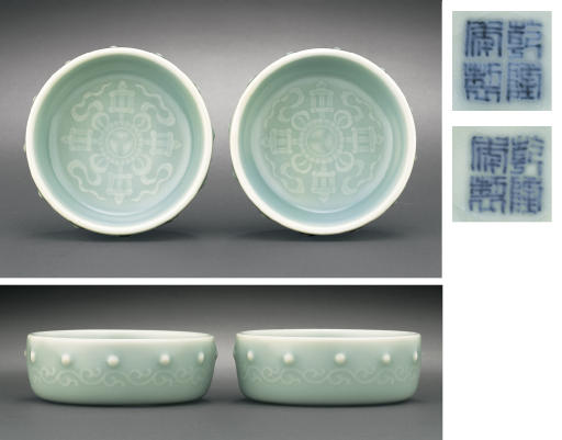 A PAIR OF SMALL CELADON-GLAZED