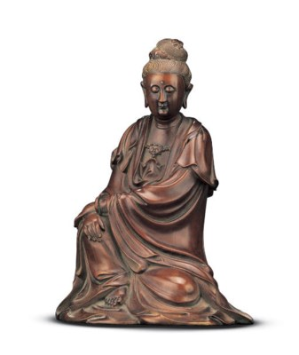 A CARED BOXWOOD FIGURE OF GUAN