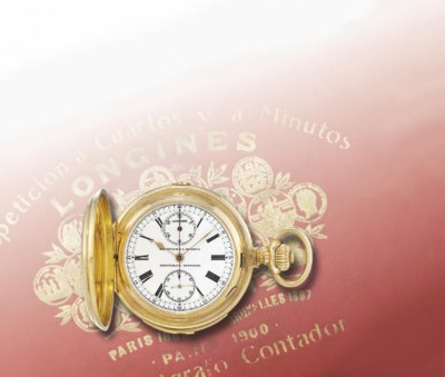 LONGINES. A FINE 18K GOLD HUNT