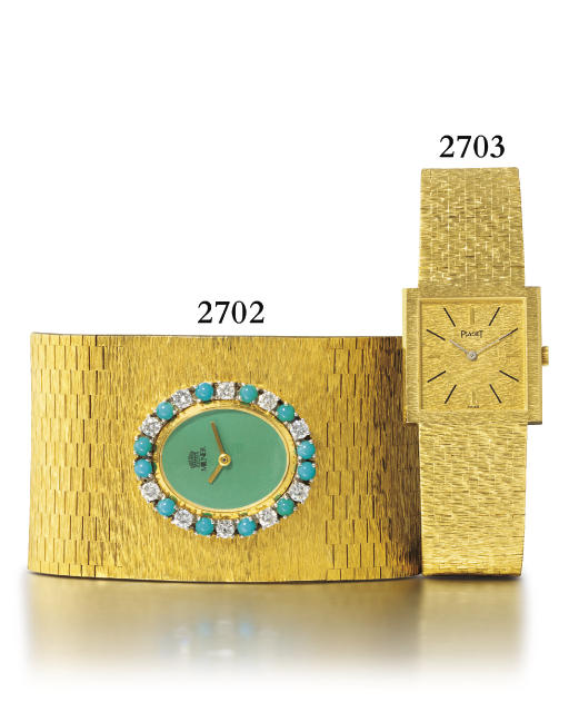 PIAGET. AN 18K GOLD SQUARE WRI