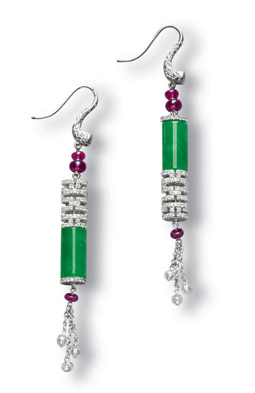 A PAIR OF JADEITE, RUBY AND DI