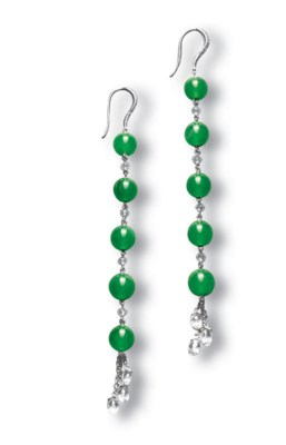 A PAIR OF JADEITE BEAD AND DIA