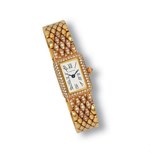 A LADY'S 18K GOLD AND DIAMOND WRISTWATCH, BY CARTIER