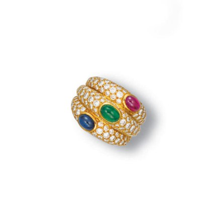 A MULTI-GEM AND DIAMOND RING,
