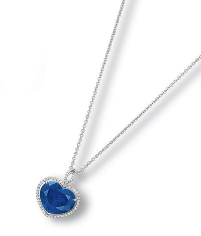A SAPPHIRE AND DIAMOND PENDENT