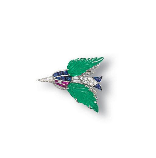 A MULTI-GEM AND DIAMOND BIRD B