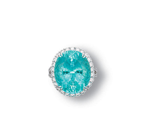 A PARAIBA TOURMALINE AND DIAMO