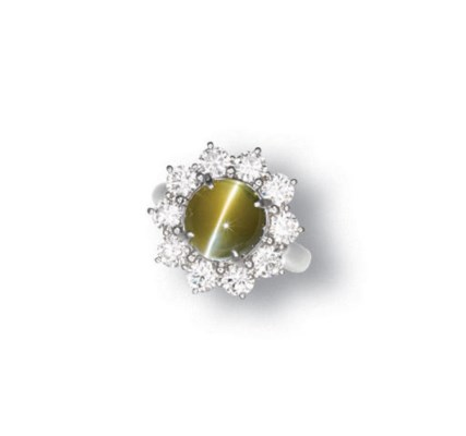 A CAT'S EYE CHRYSOBERYL AND DI