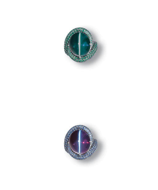A RARE CAT'S EYE ALEXANDRITE AND DIAMOND RING