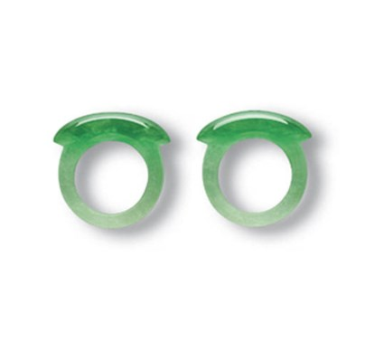 A PAIR OF JADEITE SADDLE RINGS