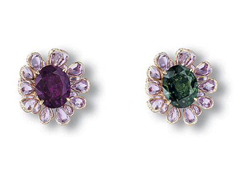 AN EXQUISITE ALEXANDRITE, PINK TOURMALINE AND DIAMOND FLOWER RING, BY WALLACE CHAN