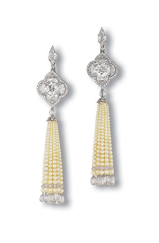 A PAIR OF CHARMING PEARL AND DIAMOND EAR PENDANTS, BY BHAGAT
