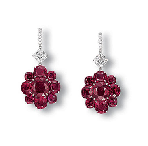 A PAIR OF SUPERB RUBY AND DIAM