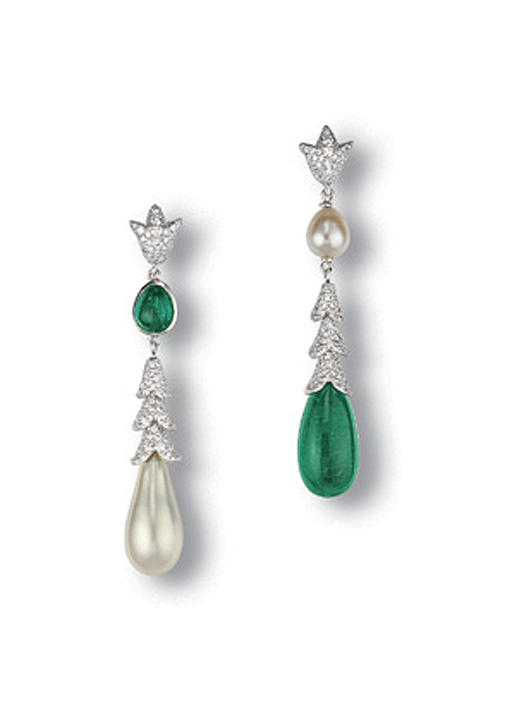 A PAIR OF PEARL, EMERALD AND D