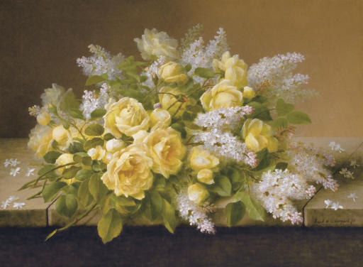 Yellow Roses and Lilacs