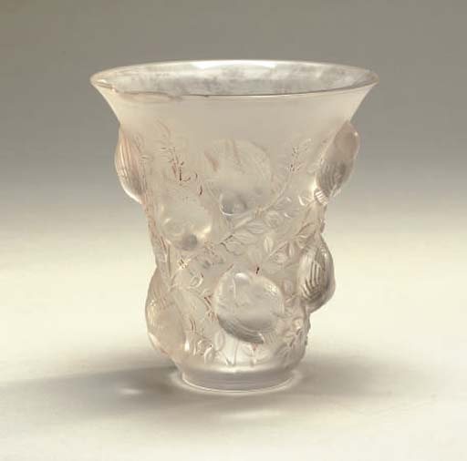 TWO LALIQUE VASES AND A BOWL,