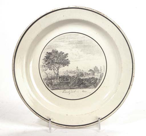 A WEDGWOOD CREAMWARE TOPOGRAPHICAL PLATE,