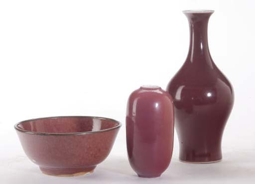 THREE CHINESE COPPER-GLAZED ARTICLES,
