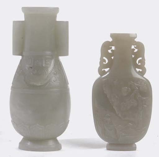 TWO CHINESE SMALL WHITE JADE VASES,