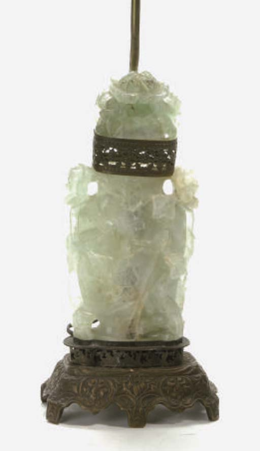 A CHINESE GREEN QUARTZ VASE AND COVER MOUNTED AS A LAMP,