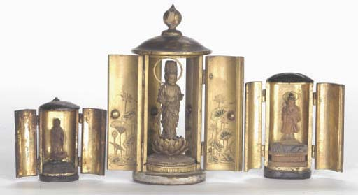 FOUR JAPANESE MINIATURE LACQUER TRAVELING SHRINES,