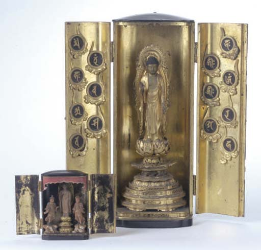 TWO JAPANESE LACQUERED TRAVELING SHRINES,