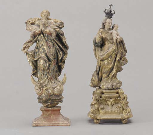 TWO POLYCHROME PAINTED AND PARCEL-GILT CARVED WOOD FIGURES OF THE VIRGIN,