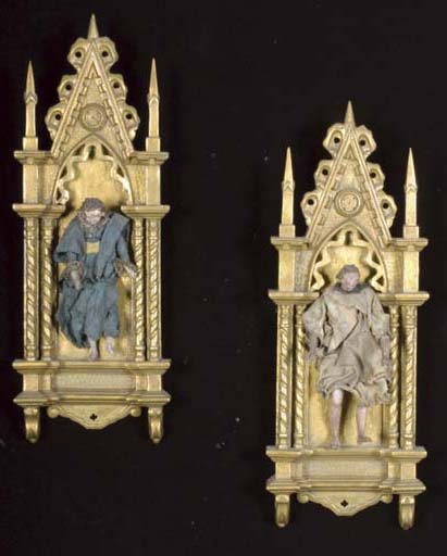 TWO POLYCHROME DECORATED CARED WOOD NEOPOLITAN CRECHE FIGURES,