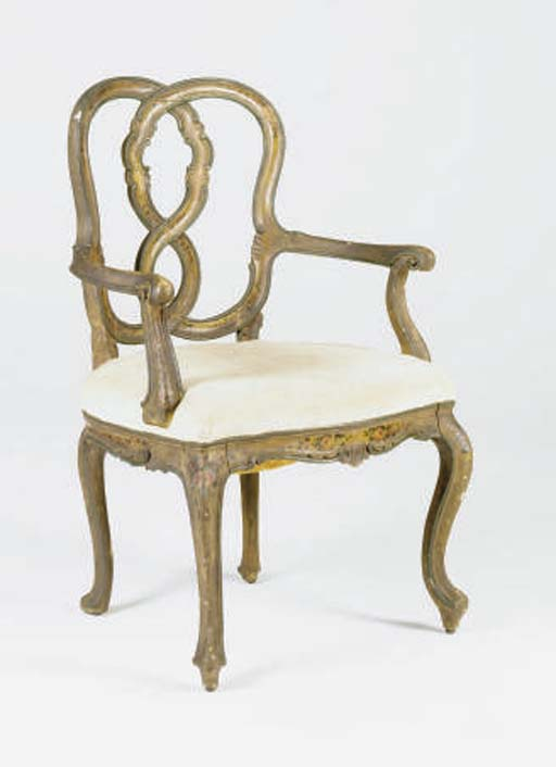 A VENETIAN ROCOCO STYLE POLYCHROME PAINTED OPEN BERGERE,