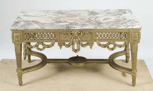 A LOUIS XVI STYLE GILTWOOD MARBLE TOPPED LOW TABLE,