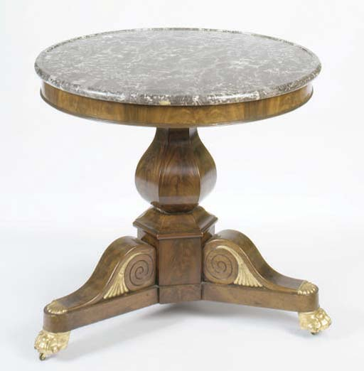 A LOUIS PHILIPPE MAHOGANY PARCEL-GILT MARBLE TOP CENTRE TABLE,